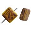Glass Bead Squares 8mm Opaque Yellow Marble Matt - Strung